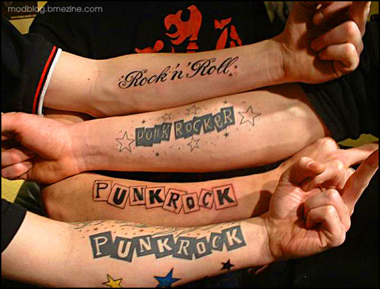 Tattoos On A Theme Rock N Roll The Words Bme Tattoo Piercing