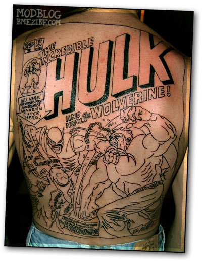 hulk vs wolverine backpiece bme tattoo piercing and body modification news. Black Bedroom Furniture Sets. Home Design Ideas
