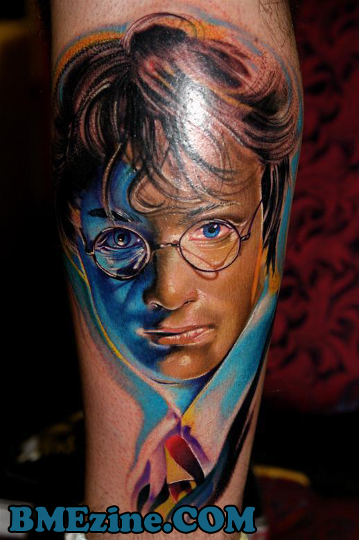 Of his pop culture tattoos, my favorite is this Harry Potter portrait by our