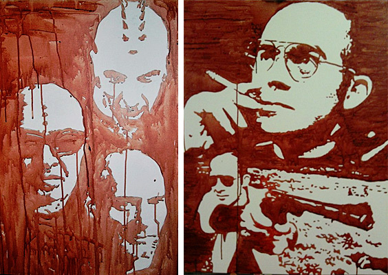 Blood Paintings by Samppa Von Cyborg. The painting on the left includes a self-portrait, and portraits of Lukas Zpira and Steve Haworth, two other pioneering body modification artists. The painting on the left is of Hunter S. Thompson.