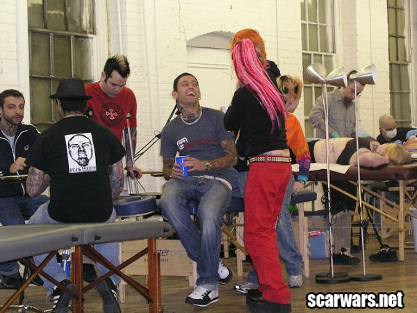 Ron Garza (back), Jesse Villemaire (crutches), Johannes, Sam, Dave Gillstrap at Scarwars 1